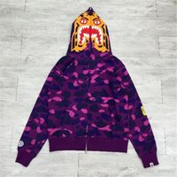 2017 New Violet A BATHING A APE Bapes da uomo COLOUR CAMO TIGER CAPPUCCIO FULL ZIP Shark Jaw Full Zipper Felpa con cappuccio Camouflage Coat Jacke