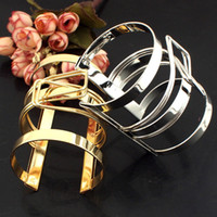 Wholesale Traditional Wedding Dresses Designs - Women Dress Jewelry Lock Catch Design Alloy Opened Cuff Bangles Fashion Handwork Accessories Gold & Silver Color BL374