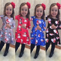 Wholesale Dress Older Girl - Christmas dress for little girls 4 years older holiday dress Printed animals Olaf 4 colors choice black red blue gray