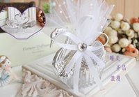 Wholesale Sweet Candy Box Silver - Elegant Organza Clear Acrylic Swan Candy Box Wedding Favor Gift Boxes Sweet Candy Holders Party Decorations