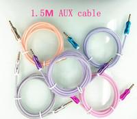 mini usb jack großhandel-5FT 1,5 Mt 3,5mm Car Audio AUX Verlängerungskabel Geflochtene Woven wire Auxiliary Stereo Jack Stecker für Iphone 6 plus Handy Lautsprecher