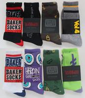 harajuku tarzı çoraplar toptan satış-Wholesale-5pais = 10 adet Moda Jasper Baker Harajuku yaz Tarzı Kalın Terry Spor Çorap Kaykay Pamuk erkek çorapları
