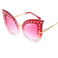 Wholesale Glitter Glasses Frames - Luxury Diamond Oversized Cat Eye Sunglasses For Women Pearl Glitter Metal Frame Brand Glasses Designer Fashion Female UV400 Y248