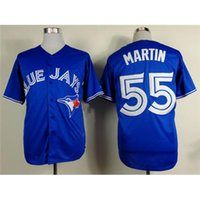 Wholesale Russell Outdoors - #55 Russell Martin Blue Baseball Jerseys Blue Jays Cool Base Authentic Mens Baseball Wears 2015 Newest Outdoor Athletic Uniform for Sale