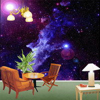 Wholesale Free Purple Wallpaper - Purple Galaxy Wallpaper Mural Photo Giant Wall Decor Paper Poster Charming Galaxies For Children Living Room BED MURALS NEW Free Shipping