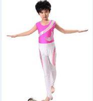 Wholesale Leather Girl Dance Wear - Wholesale-Fashion Girl Boy Leotards Toddler Girl Gymnastics Dance Dress Children Latin Dance Dress Performance Wear Unisex