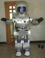 Wholesale Mascot Led - RH0411 LED LIGHTS eyes silver and blue robot mascot costume for adult to wear