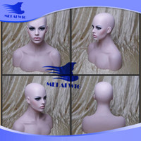 Wholesale Ring Mannequin Display - factory Price New Sklin Good Quality EMS Shipping Fiberglass Female Mannequin Head Bust For Lace Wig Jewelry And Hat Display