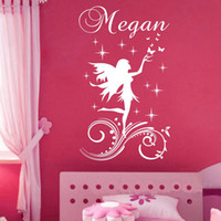 Wholesale Pink Fairy Wall Stickers - Customer-made a Fairy Little Angel Cartoon Wall Sticker Personalised Any Name Girls Wall decal for Kids Room Decor