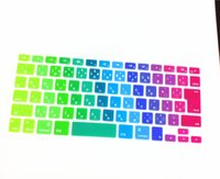 Wholesale European Keyboard Protector - Wholesale-Lowest Price Rainbow Silicone Keyboard Cover Protector Skin For European Japanese Letters Apple Macbook Pro MAC 13 Inch