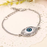 Wholesale Silver Hamsa Evil Eye Charm - 2016 Fashion Jewelry crystal HAMSA blue Evil Eye bracelets Turkish Kabbalah Crystal Chain Charm Bracelets bangle jewelry ZJ-0903256