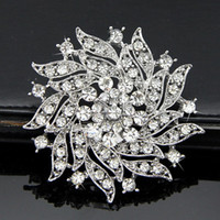Wholesale Genuine Coral Jewelry - 2016 new fashion crystal flower brooch full suit genuine diamond jewelry gift hot accessory of choice for holding flowers