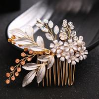 Wholesale head comb jewelry - Luxurious Crystal Rhinestone Wedding Hair Accessories Bride Bridal Floral Hair Comb Head Pieces hair jewelry Rhinestone Crystal