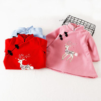 2017 neue Jahr Kleidung Baby Kleid Winter woolen Cartoon wadded Robe traditionellen chinesischen Kleidungsstück China Stil Mädchen Weihnachten Tag wesentlich