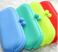 Wholesale Silicone Coin Purse Wallet - Hot selling Waterproof Silicone Key Coin Purses Wallet Rubber Wallets Bag Candy colors Pouch Soft Eyeglasses Bag Glasses Case Free Shipping