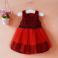 Wholesale Chinese Clothing Wholesale Free Shipping - Girls Party Dress kids sequined dress woolen+lace clothing good quality red color 5 p l free shipping