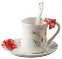 All'ingrosso-europea di ceramica Fine Bone China smalto Hula Fiore Coffee Cup Set creativa Tea Cup Set Franc pittura di modo, il trasporto libero