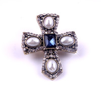 Wholesale Bronze Ancient China - Womens Party Wedding Brooch Pin Pearl Sapphire Rhinestone Crystal Cross Pendant Metal Ancient Bronze Pin Brooch