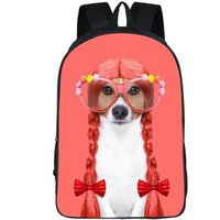 Wholesale funny pictures cartoon - Hair dog backpack Cute animal daypack Funny picture schoolbag Leisure rucksack Sport school bag Outdoor day pack