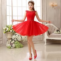 Wholesale Sexy Girls Mini Clothes - Free shipping fashion Red Lace Bride short fashion sexy dress Bridesmaid Dresses wedding for party Club girl women fashion Clothes LF251