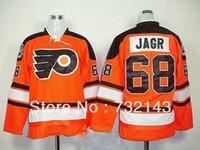 Wholesale Wholsale Hockey Jerseys - 30 Teams-Wholesale Wholsale 2013 Philadelphia Flyers #68 Jaromir Jagr Orange Ice Hockey Jerseys Emboridered Logos Size 48-56 Free Shipping