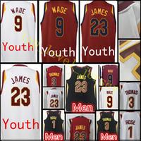 Wholesale Boys Rugby - 2017-18 New Youth  Men's #23 LeBron 9 Dwyane Wade jersey Men 3 Isiah Thomas 1 Derrick Rose 0 Kevin Love jerseys Cheap sales