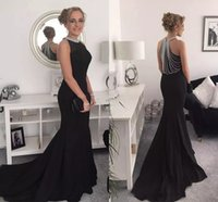 Wholesale Attractive Pictures - 2018 Attractive Black Mermaid Evening Dresses Jewel Neck Beaded Satin Prom Dresses Arabic Formal Evening Gowns
