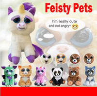Wholesale Plastic Face Doll - Feisty Pets Plush 22cm One Second Change Face Animal Plush Toys Cute Expression Kids Stuffed Doll 13 Styles OOA3486