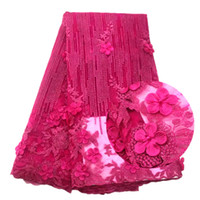 Wholesale Beaded Embroidered Fabric - 2018 Latest Style French 3 d Tulle Flower Embroidered Lace Trim Chiffon Beaded Blue Lace African French Laces Fabrics