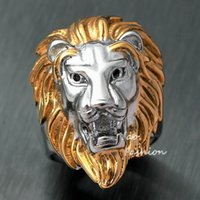 Wholesale gold lion head ring - Men's Huge Gold Silver Tone Lion 316L Stainless Steel Biker Ring King Of Animal Head Face Leo Punk Fashion Jewelry X'mas Gift