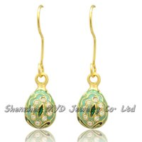 Wholesale Easter Egg Earrings - Handmade woman fashion jewelry fancy mini Easter egg crystal Faberge drop earrings color enameled high quality