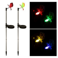 Wholesale Dragonfly Color Change Solar Light - Color Changing Solar Garden Pathway Lawn Lamp Spike Light LED Sense LED Butterfly Bird Dragonfly Landscape Lamps 2PCS LOT DHL L0773