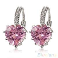 Wholesale Earring Leverback - Wholesale- Bluelans Women's White Pink Crystal Charming Heart Leverback Earrings