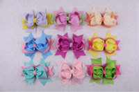 Wholesale Two Toned Baby Hair Bows - Wholesale 9pcs 5inches Baby Girl two tone mixed Ribbon Hair Bows Clip 2200-2208