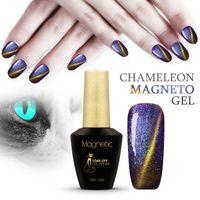 Wholesale magnetic soak off gel polish - 12 Colors Magnetic Cat Eye Gel Nail Gel Polish Long-lasting magnetic UV Fingernail Gel Soak-off LED UV Color Gel Varnish lacquer
