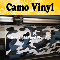 Wholesale car vinyl wrap camouflage - Jumbo Blue Tiger Camouflage Vinyl Wrap Film Blue Tiger Camo Vinyl Car Wrap Air Drain Vehicle Wraps Size:1.50*30m Roll