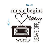 Wholesale Music Vinyl Wall Sticker - Classic Black Music Player Wall Art Mural Decor Words Leave Off Music Begins Quote Wallpaper Decoration Sticker Home Art Decal Decor