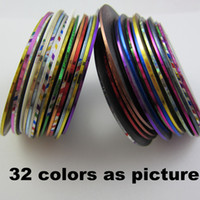 Wholesale Striping Tape Line Nail - FreeShipping 32 mix Color Rolls Striping Tape Metallic Yarn Line Glue Adhesive Stick Strip Nail Art Decoration Sticker Decal