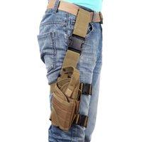 Wholesale Puttee Pistol Holster - NEW Outdoor Hunting Tactical Puttee Thigh Leg Pistol Gun Holster Pouch Bag Wrap-around Khaki Green Black H10155