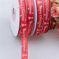 Wholesale cloth gift wrap - 25 Yards 1cm Christmas Decoration Red Thread Printed Ribbon Handmade Christmas Gift Wrap Ribbon DIY Decoration Material 001