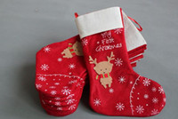 Wholesale Snowflakes Wrap - Christmas Decorations snowflake deer Christmas stocking gift bag candy apple bags wrap long stockings socks red Festive Party Supplies EMS