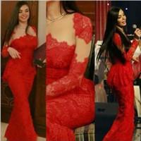 Wholesale Cheap Long Dresses Sale - Red Lace Mermaid Prom Dresses Illusion Jewel Long Sleeves Peplum Celebrity Party Gowns Custom Made Cheap Online For Sale Vestido De Festa