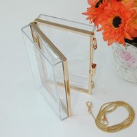 Wholesale Acrylic Transparent Bags - Wholesale-New Women Lady Transparent Acrylic Perspex Clutch Party Bag Chain Purse Tote free shippping