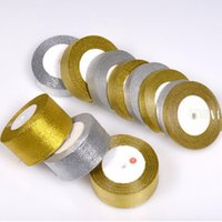 Wholesale Wholesale Polyester Webbing - Handmade Gold and Silver Ribbon 25 Yard 22M Metallic Luster Wedding Christmas Decoration DIY Webbing Card Gift Wrapping