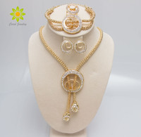 afrikanische goldhochzeitsringe großhandel-Freies Verschiffen-2015 Frauen-Art- und Weiseklassiker-18K Gold überzogene Halsketten-Armband EarringsRing Schmucksache-Sets afrikanisches Kostüm-Hochzeits-Zusätze