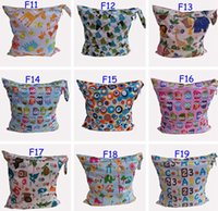 Wholesale Aio Minky Diapers - 50Pc Baby Wet Dry Diaper Bags One Zippered Baby Diaper Bag Nappy Bag Waterproof Reusable Soft Minky Little Birds Retail Wholesale Swimmer