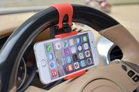 esnek evrensel telefon araba tutacağı yuvası toptan satış-Ücretsiz DHL Evrensel Otomobil Direksiyonu Beşiği Cep Telefonu Tutacağı Klip Araba Bisikleti Takma Standı Esnek Telefon Tutacağı iphon6 plus için 86mm'ye kadar uzatır