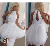 Wholesale Sexy Corsets For Size 12 - Luxury Little White Prom Dresses High Neck Keyhole Back Beading Corset Homecoming Dresses Hot Fashion 8th Grade Graduation Dresses for Party