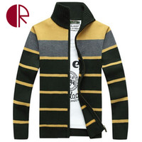 Wholesale Mens Fitted White Cardigan - Wholesale- Winter Mens Brand Casual Sweater Thick Warm Stripe Sweaters England Style Male Fit Cardigans Knitwear Zipper Stand Collar