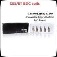 bdc ersatzspulen großhandel-Ersatzspule BDC CE5 Spulen für ET-S BDC CE5 CE5-S Zerstäuber mit austauschbarem Boden Doppelspule 1,6 / 1,8 / 2,1 Ohm gegen Protank 2/3 ICLEAR 30 30s